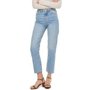 Topshop   High Waist Raw Hem Straight Leg Jeans 28